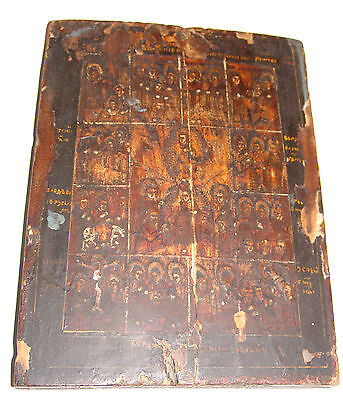 ANTIQUE  RUSSIAN art RUSSIA ORTHODOX  ICON PAINTING WOOD