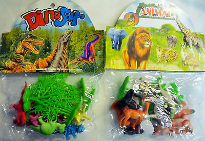 Mini Model Dinosaurs or Wild Animals (up to 15 Animals & Scenery) Approx 6 cm