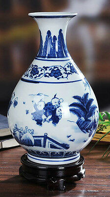 Blue and white Porcelain vase painted ancient Chinese children playing in spring