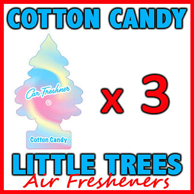3 x COTTON CANDY LITTLE TREES AIR FRESHENERS Car Home Fragrance Freshener Scent