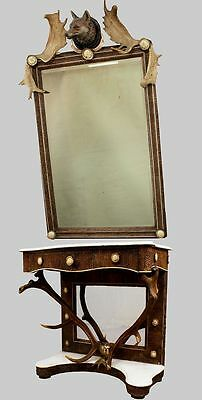 antique black forest antler mirror with console table - austria ca. 1860