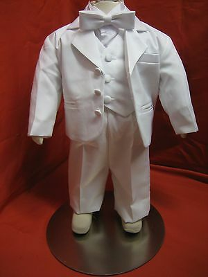 Baby Boy Christening Baptism white Suit/Tuxedo 5 pieces Outfit/ Sizes: XS to 4T
