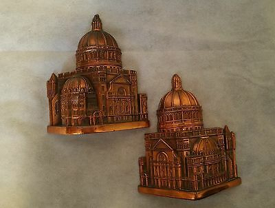 """Vintage  Pair of COPPER PLATED DOMED BUILDING BOOKENDS signed """"TOLL"""""""