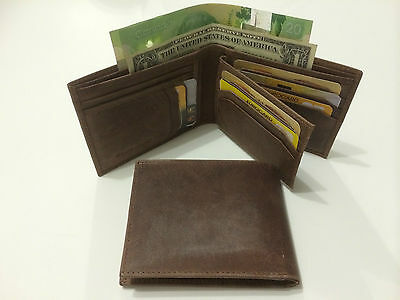 Wholesale Lot Men's Leather Credit Card Wallet - Hunter Brown (AE-08) -10 Pieces