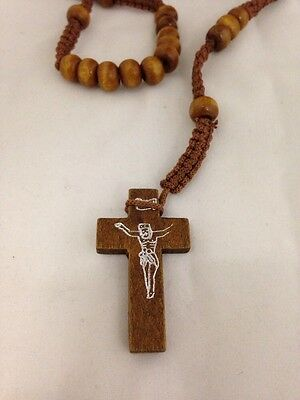 Brown Rope Wooden Beads Religious Necklace Rosary With Brown Jesus On Cross