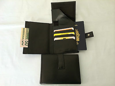 Wholesale Lot Leather Travel Wallet / Passport Holder -Black (AE-13) - 10 Pieces