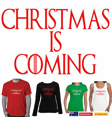 Funny T-Shirts Christmas is coming  Size Men's Ladies Singlets game of thrones
