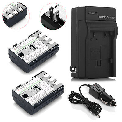 2 Pack NB-2LH NB-2L Battery + Charger for Canon EOS 400D 350D Rebel XT XTi NB2LH