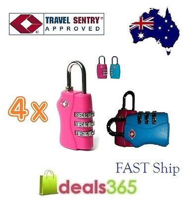 4 X 3 Digit TSA approved Combination Locks Travel Luggage Padlock Suitcase 3C
