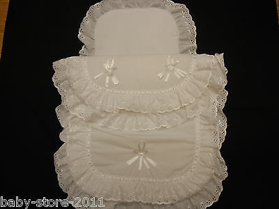 Beautiful Pram Quilt and Pillow Set suitable for MOST PRAMS COLOUR  WHITE