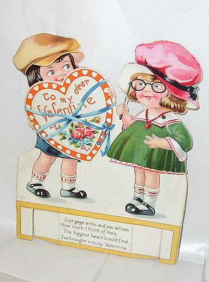 """Large 8"""" tall Louis Katz 1914 movable stand-up Valentine, """"Made in Saxony"""""""