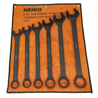 """6pc Jumbo SAE Wrench Black Oxide Raised Panel 1-3/8"""" to 2"""" w/ Pouch Tool Set"""