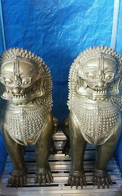 "Pair of Asian Foodog Fudog Bronze/Brass Statue 36"" tall Guardian Lions"