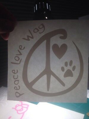Peace Love Wag decal, free shipping, car, truck, window, Dogs, Cat, Rescue, Pets