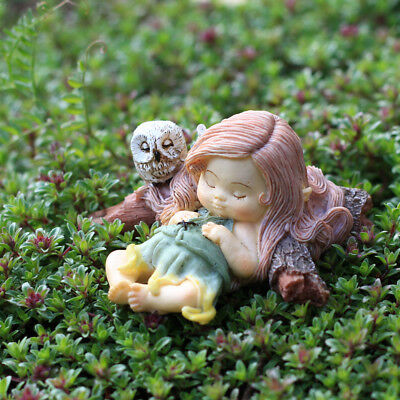 "1.75"" My Fairy Gardens Mini Figure - Sleeping Little Fairy w/ Owl Figurine Decor"