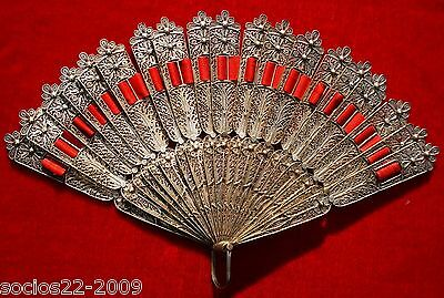 ANTIQUE FAN EVENTAIL IMPORTANT CHINESE EXPORT FILIGREE SILVER PLATED HAND FAN