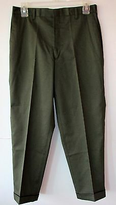 KORATRON Boys Dress Pants W29 L24 Permanent Press Olive Green Cuffed NWT OSS VTG
