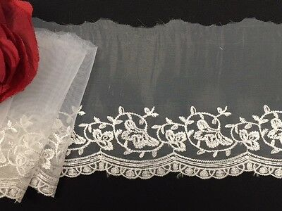 """4.5"""" Soft Mesh or Organza Trim with Tribal Design and Scallops, 2 Yard Lot"""