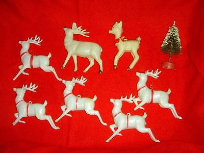 Lot of 8 Vintage Christmas Reindeer Rudolph Tree