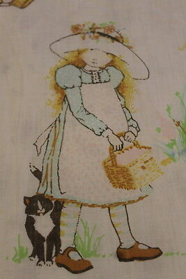 Vintage Holly Hobbie Cute Pets Flat Sheet Full/Queen Nice Condition  FREESHIP