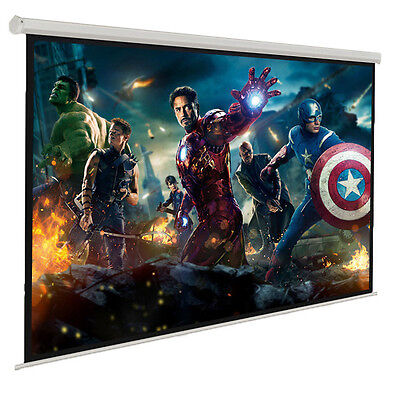 """100"""" Electric Motorised Projector Screen Home Theatre HD TV Projection 3D Remote"""