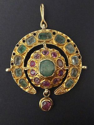 MUSEUM ANTIQUE MOROCCAN JEWELRY 14K GOLD GEMSET TABAA PENDANT FEZ 19th C.
