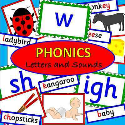 Phonics resource CD-pictures, flash cards, words- Letters and Sounds-EYFS, KS1+2