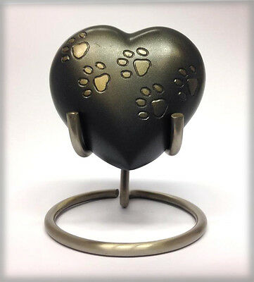 NEW! Paw Print Walk Heart Pet Keepsake Token Cremation Urn with stand - P051HS