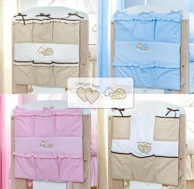 New Cot Tidy / Organiser With Embroidery For Baby Bedding Cot / Cotbed Set