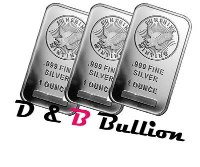 (3) BARS 1 Troy ounce sunshine minting silver bars sealed 999 Fine Silver .