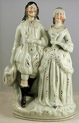 Antique Early Fine Staffordshire Pottery Gentleman & Female Companion Figurine