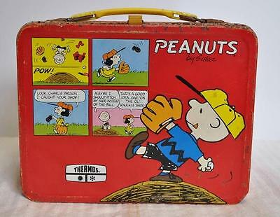 AF Vintage 1965 King-Seeley Thermos Co Red Peanuts Metal Lunchbox w/ Thermos