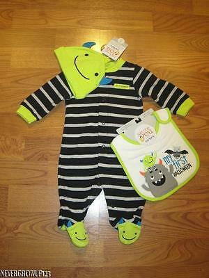 Carter's My 1St Halloween Infant~Baby~Boy Monster Outfit~Hat & Bib~3 Mo~Nwt