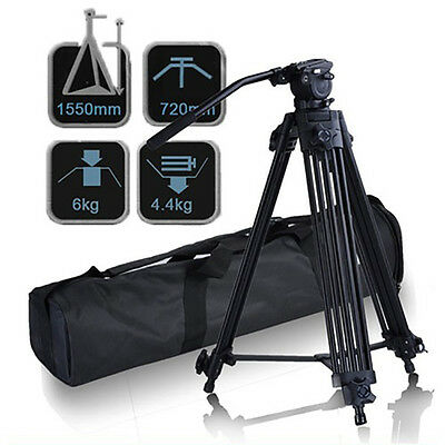 Professional Heavy Duty Video Camcorder DSLR Tripod with Fluid Drag Pan Head