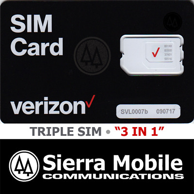 "VERIZON SIM Card  "" 3 in 1 "" • 2FF • 3FF • 4FF • CDMA 4GLTE • Genuine OEM •  NEW"