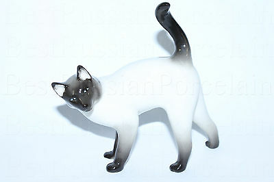 Russian Imperial Lomonosov Figurine Siamese Cat Porcelain NEW Russia Rare