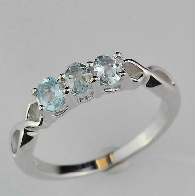Sterling Silver 3 Stone Blue Topaz Ring