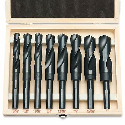 "8pc Jumbo Silver & Deming Drill Bit Set 1/2"" Inch Industrial Large 9/16"" to 1"""