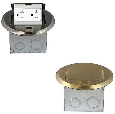 1-Gang Electrical Pop-up Stainless Steel/Brass Floor Box 20A Duplex Receptacle
