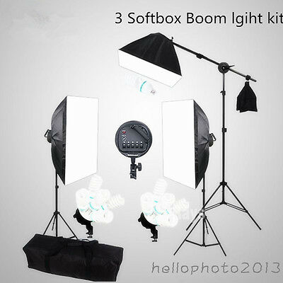 Photography Photo 3 Softbox Lighting Set Continuous Soft Box Boom Arm Stand KIT