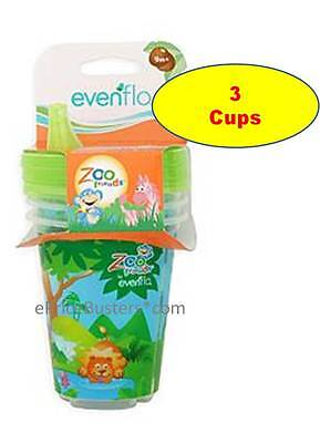 3 New Evenflo Zoo Friends Baby Sippy Cups - each cup 1 animal
