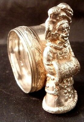 Antique Victorian Silver Plate Figurative Napkin Ring Girl Coat Hat Muff