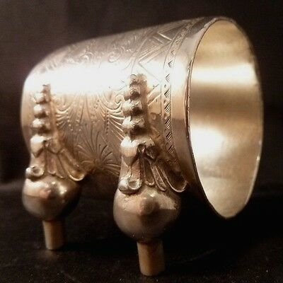 Antique Victorian Silver Plate Figurative Napkin Ring Andirons Fireplace Mint