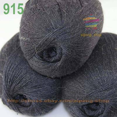 Lot 3 Skeins LACE Crocheted Acrylic Wool Cashmere Yarn Knitting Charcoal gray915
