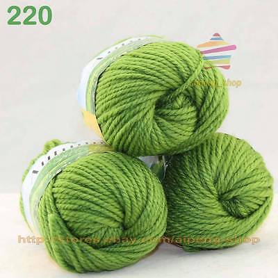 LOT of 3 Balls X50gr Chunky Thick Soft Wool Hand Yarn Knitting Chartreuse 220