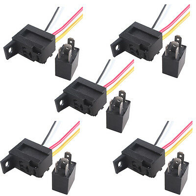 5 X Car 30A AMP 12V Relay Kit SPST For Fan Fuel Pump Light Horn 4Pin 4 Wire