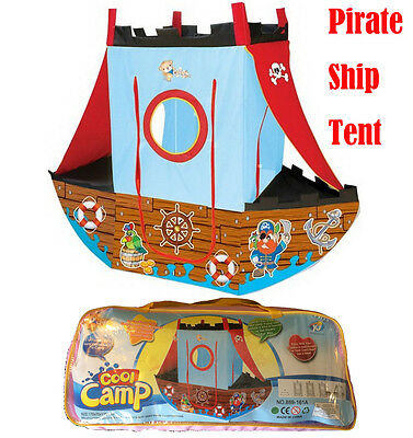 NEW PIRATE SHIP TENT PORTABLE FOLDING POP UP PLAY TENT CHILDREN/KIDS PLAYHOUSE