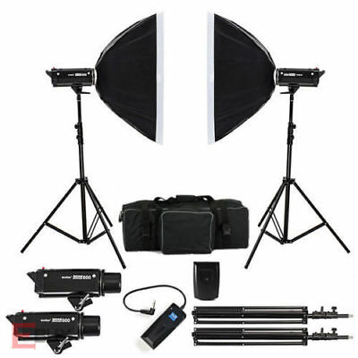 Godox 1200W Photo Photography Studio Strobe Flash Softbox Lighting Kit 2x 600w