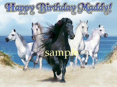 Beach Running HORSES Edible Photo CAKE Topper Decoration ICING Image