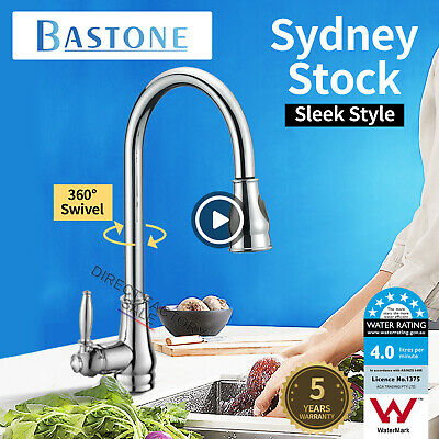 WELS Kitchen Sink Mixer Tap Faucet Swivel 2 Modes Pull Out Spout Brass Chrome